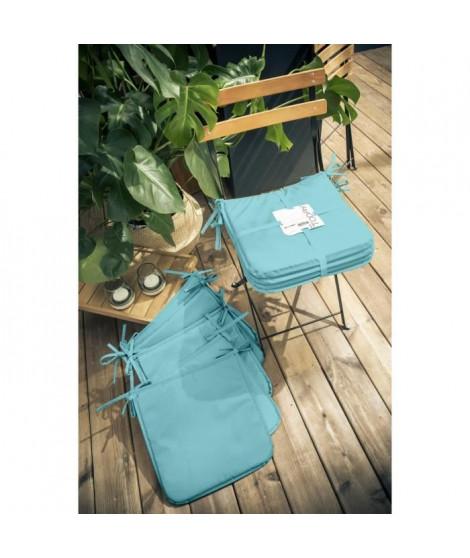 TODAY Lot de 6 Galettes de chaise 38x38x2cm - 100% Polyester - Bleu ciel