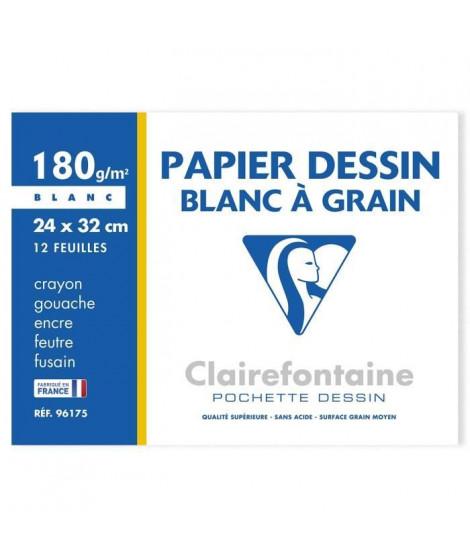 CLAIREFONTAINE - Pochettes dessin Papier a grain P.E.F.C Blanc - 24 x 32 - 12 feuilles - 180 G