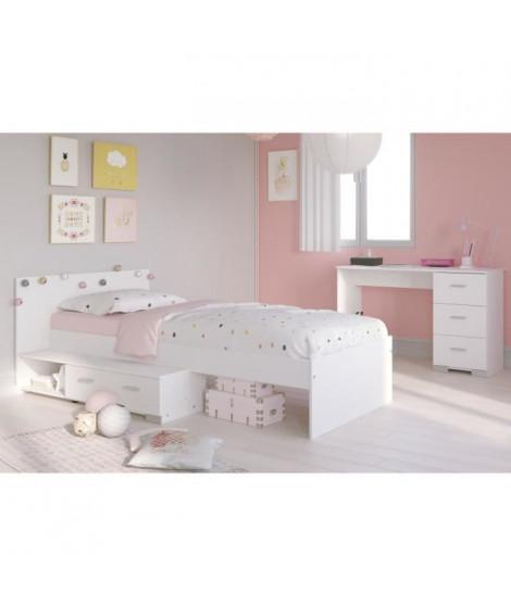 COSMOS Chambre enfant complete 2 pieces - Lit + bureau - Style essentiel - Décor blanc