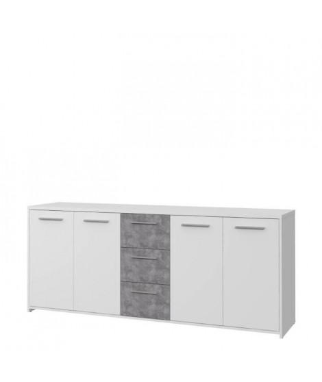 Buffet bas 4 portes 3 tiroirs - Blanc et décor gris béton - L 179 x P 42 x H 74,5 cm