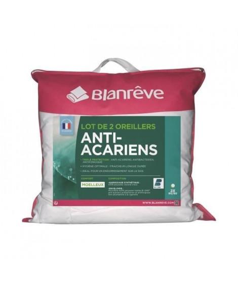 BLANREVE Lot de 2 Oreillers Triple Protection - 60 x 60 cm - Blanc