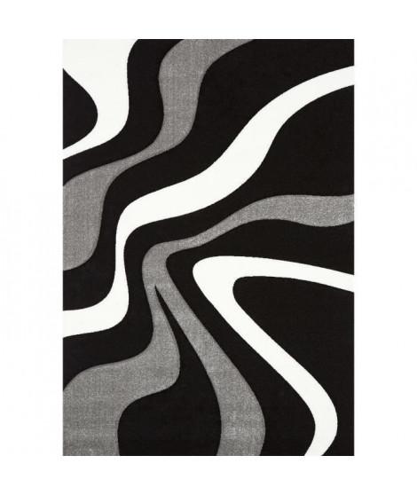 DIAMOND VAGUES Tapis de salon 120x170 cm noir, gris et blanc