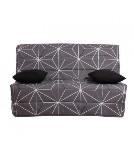 LIOM Banquette BZ 3 places - Tissu motif Saka - Style contemporain - L 142 x P 96 cm