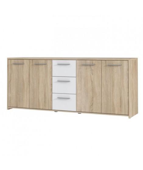 FINLANDEK Buffet bas PILVI contemporain décor chene sonoma et blanc mat - L 179 cm