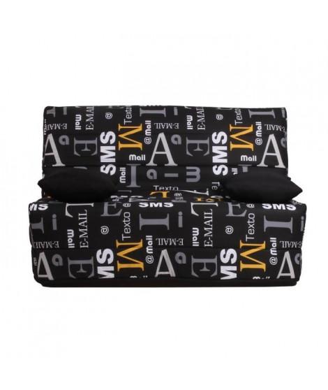 LIOM Banquette BZ 3 places - Tissu motif Sms - Style contemporain - L 142 x P 96 cm