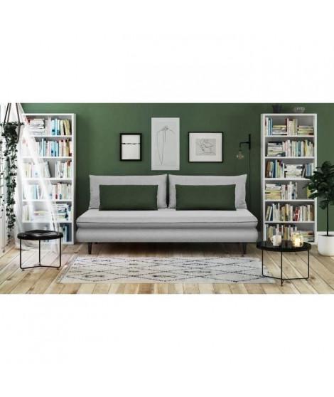 APOLINE Banquette méridienne 3 places - Tissu Gris clair/vert - Style classique - L 192 x P 101 cm