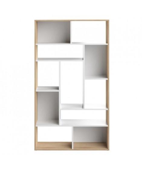 SEOUL Bibliotheque - Décor chene et blanc - L 91 x P 33x H 163 cm