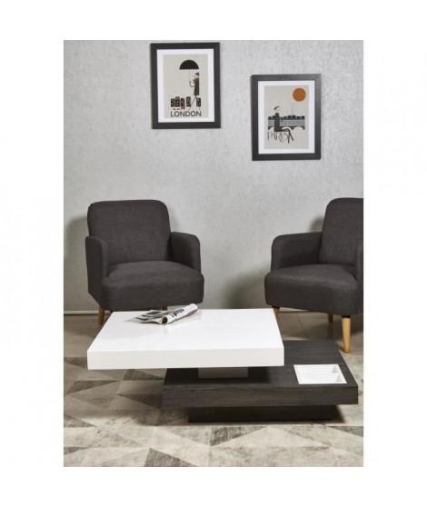 NAGA Table basse double plateau style contemporain noir et blanc brillant - L 80-110 x l 80 cm
