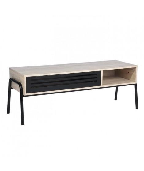 ENDOR Meuble TV en métal et bois - Décor bois et noir - L 125 cm