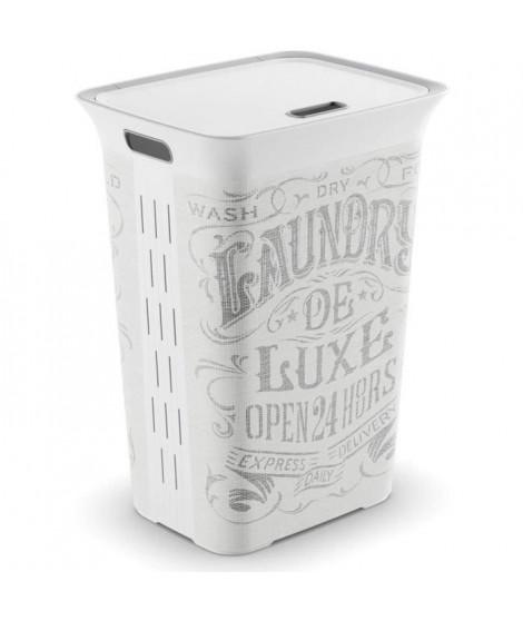 KIS Coffre a linge Laundry de Luxe Chic Style - 60 l - Gris et blanc