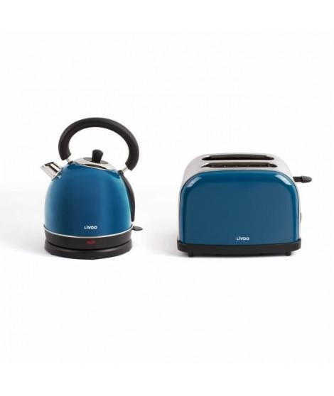 LIVOO DOD136B Set petit déjeuner vintage bouilloire électrique + grille-pain - bleu