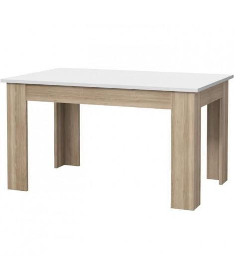 PILVI Table a manger - Blanc et chene sonoma - L 140 x I90 x H 75 cm