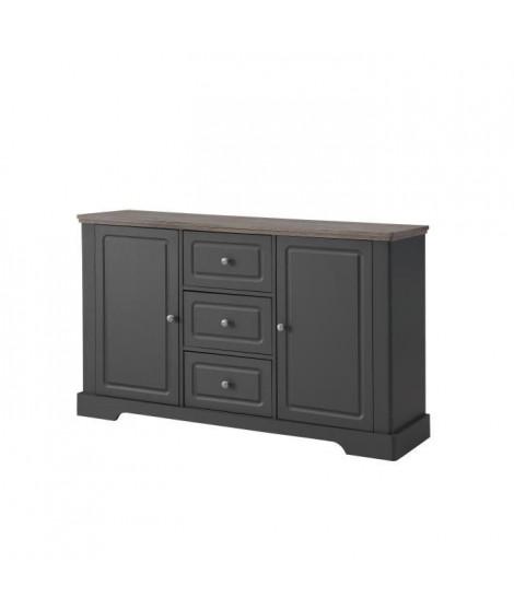 DESSY Buffet bas classique gris mat et plateau décor bois - L 139 cm
