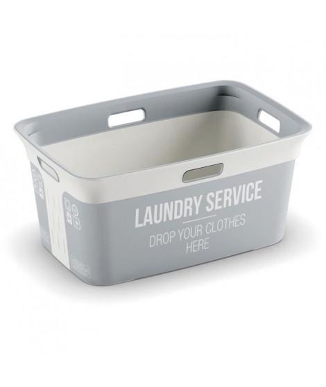 KIS Corbeille a linge Laudry Service Chic Style - 40 l - Gris et blanc