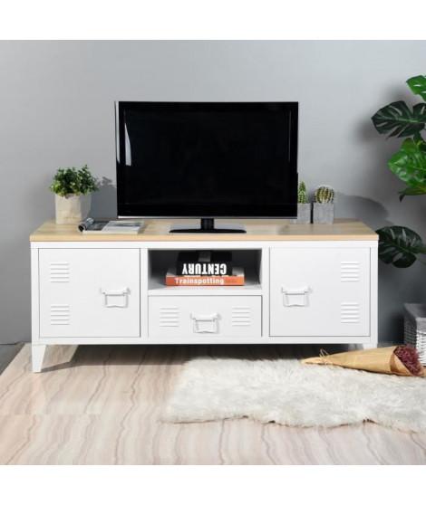 LIVERPOOL Meuble TV en métal 2 portes 1 tiroirs - Métal blanc et décor chene - L 120 x P 40 x H 48 cm