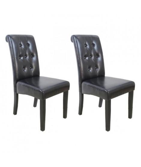 CUBA Lot de 2 chaises de salle a manger - Simili marron - Style contemporain - L 45 x P 60 cm