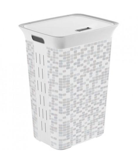 KIS Coffre a linge Mosaic Chic Style - 60 l - Gris et blanc