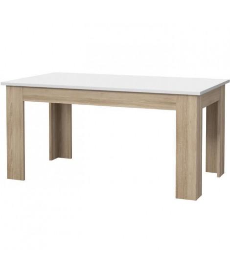 PILVI Table a manger de 6 a 8 personnes style contemporain - Blanc mat et décor chene sonoma - L 160 x l 90 cm