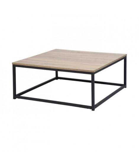 FACTO Table basse carré chene - Décor chene et noir - L 80 x P 80 x H 34 cm