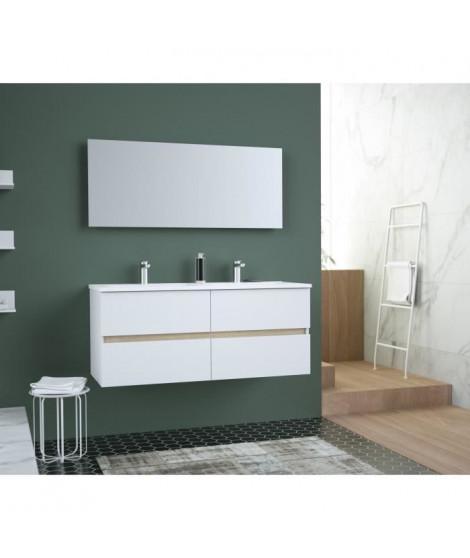 TOTEM Salle de bain 120cm - 4 tiroirs fermetures ralenties - double vasque en céramique + miroir