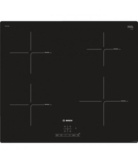 BOSCH PUE611BB1E Table de cuisson induction - 4 foyers - 4600 W - L 59,2 x P52,2 cm - Revetement verre - Coloris noir
