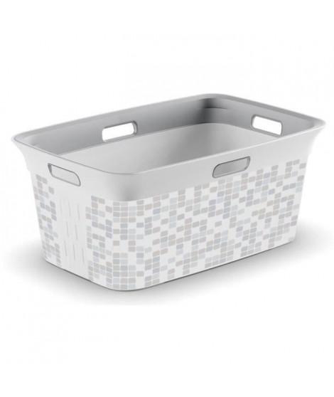 KIS Corbeille a linge Mosaic Chic Style - 40 l - Gris et blanc