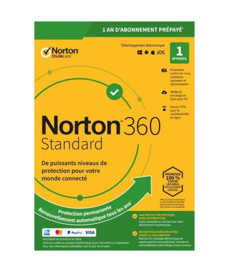 NORTON 360 Standard 10 Go FR 1 Utilisateur 1 Appareil - 12 Mo STD RET ENR MM