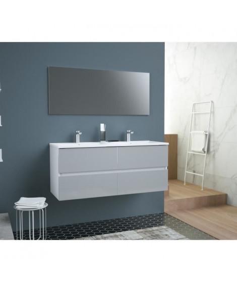 TOTEM Salle de bain 120cm - Gris - 4 tiroirs fermetures ralenties - double vasque en céramique + miroir