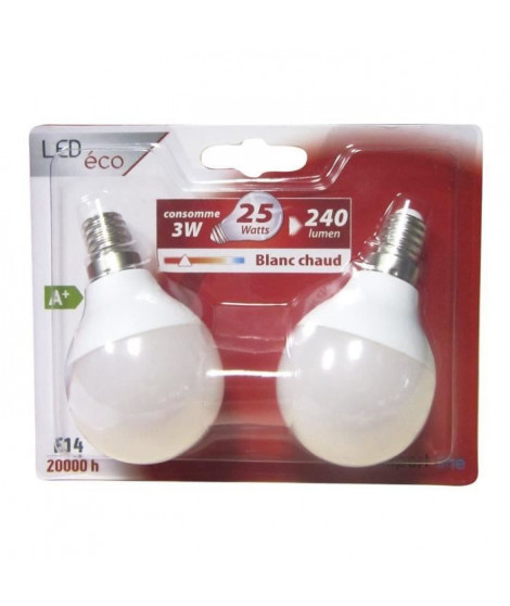 EXPERTLINE Lot de 2 Ampoules LED E14 G45 sphérique 3 W équivalent a 25 W blanc chaud