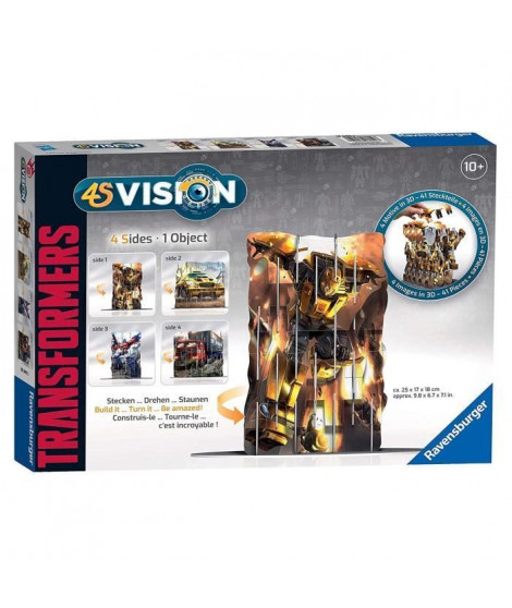 TRANSFORMERS 4S VISION Transformers - Réalisez 4 images en 1 Seule Sculpture 3D ! Ravensburger