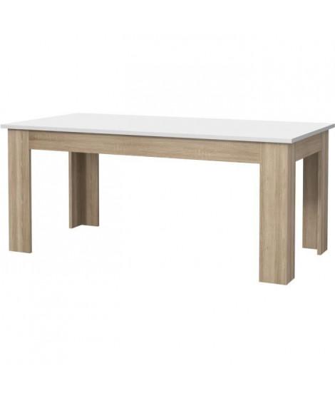 PILVI Table a manger - Blanc et chene sonoma - L 180 x I90 x H 75 cm