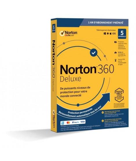 NORTON 360 Deluxe 50 Go FR 1 Utilisateur 5 Appareils - 12 Mo STD RET ENR MM