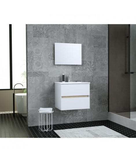 TOTEM Salle de bain 60cm - 2 tiroirs fermetures ralenties - simple vasque en céramique + miroir