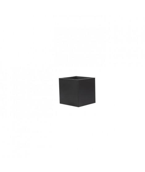 Bac a fleurs en fibre de verre style ciment - 40 x 40 x 40 cm - Noir