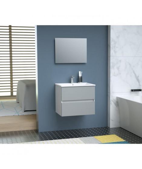TOTEM Salle de bain 60cm - Gris - 2 tiroirs fermetures ralenties - simple vasque en céramique + miroir
