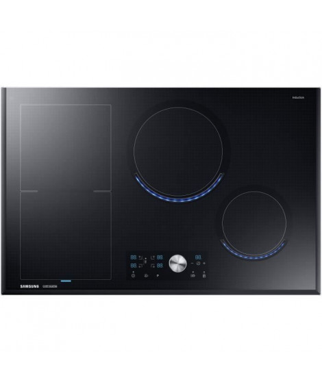SAMSUNG - Table a induction 80 cm/Zone Modulable/4 foyers induction indépendants/Technologie Virtual Flame/4 Boosters/Command…