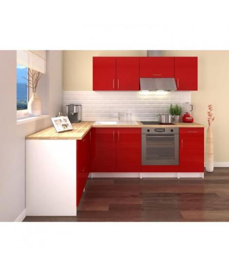 OBI Cuisine complete d'angle L 280 cm - Rouge laqué brillant