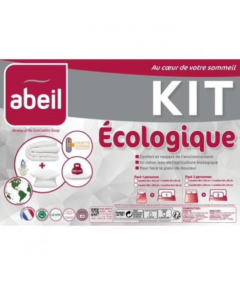 ABEIL Pack écologique - 1 Couette 200x200 cm + 1 Oreiller 60x60 cm - Coton Bio