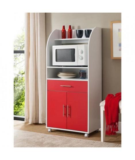KITCHEN Desserte de cuisine 62 cm - Blanc et rouge