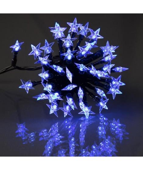 Guirlande étoile souple - 60 LED bleu - IP44 - 31V - 8 fonctions avec mémoire - 5 m - Fil transparent