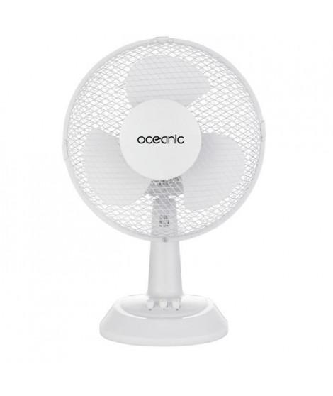 OCEANIC Ventilateur de table - 25 watts - Diametre 23 cm - 2 vitesses - Oscillant - Blanc