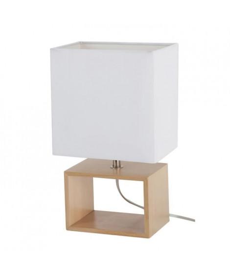 LIV-Lampe a poser Bois H31cm Blanc Corep