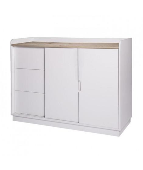 OSLO Rangement 2 portes 3 tiroirs - Blanc - L 120 x P 40 x H 85 cm