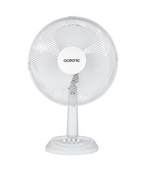 OCEANIC Ventilateur de table - 35 watts - Diametre 30 cm - 2 vitesses - Oscillant - Blanc