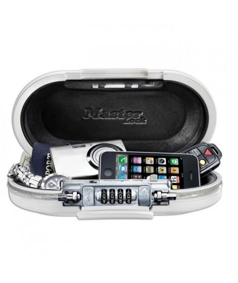 MASTER LOCK Mini-coffre de rangement portable pour voyage avec câble de sécurité - Blanc