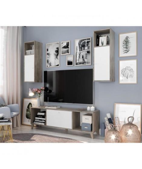 FINLANDEK Ensemble Meuble TV SVEN scandinave blanc mat et décor chene brillant - L 160 cm