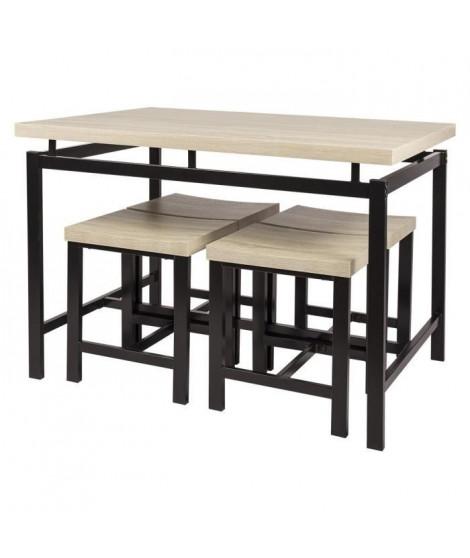 VENUS Set Table + 4 tabourets - Imitation bois - L 110 x P 70 x H 75 cm