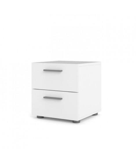 TYHJA Chevet 2 tiroirs - Blanc - L 40 x P 40 x H 42 cm