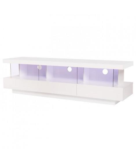 BLUE LIGHT Meuble TV 3 tiroirs et luminaire led - Blanc - L 160 x P 39 x H 45 cm