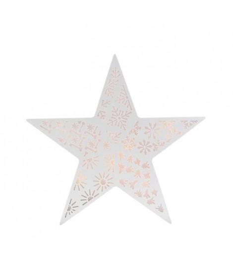 BLACHERE Etoile Blanche 3D - Collection Champs Elysées - 8 LED Blanc chaud -Ø30 cm - Câble Argent Transparent